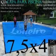Capa para Piscina Super 7,5 x 4,0m Azul/Cinza PP/PE Lona Térmica Premium +62m+62p+3b