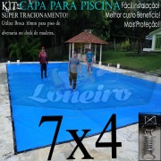 Capa para Piscina Super 7,0 x 4,0m Azul/Cinza PP/PE Lona Térmica Premium +60m+60p+3b
