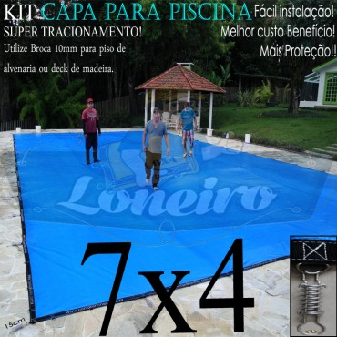 CAPA PARA PINSCINA 7x4 LONEIRO LONAS AMÉRICA ENCERADOS IMPERMEÁVEL SEM TOXINAS ATÓXICA DE SEGURANÇA E PROTEÇÃO 500 MICRAS SUPORTA ATÉ 300KG DE PESO