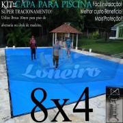 Capa para Piscina Super 8,0 x 4,0m Azul/Cinza PP/PE Lona Térmica Premium +64m+64p+3b