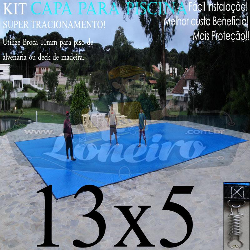 Capa para Piscina Super: 13,0 x 5,0m PP/PE Azul Cinza Lona Térmica de Proteção, Segurança e Cobertura +72m+72p+5b