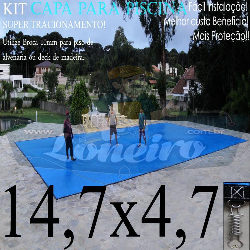 Capa para Piscina Super: 14,7 x 4,7m PP/PE Lona Térmica de Proteção e Cobertura  +94m+94p+5b