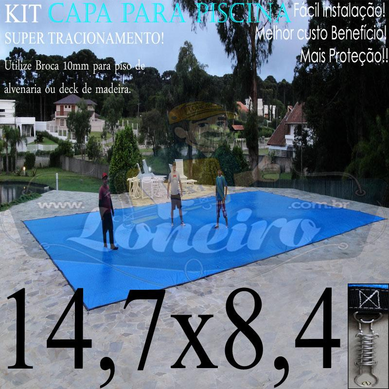 Capa para Piscina Super: 14,7 x 8,4m PP/PE Azul/Cinza Lona Térmica de Cobertura e Segurança +92m+92p+10b