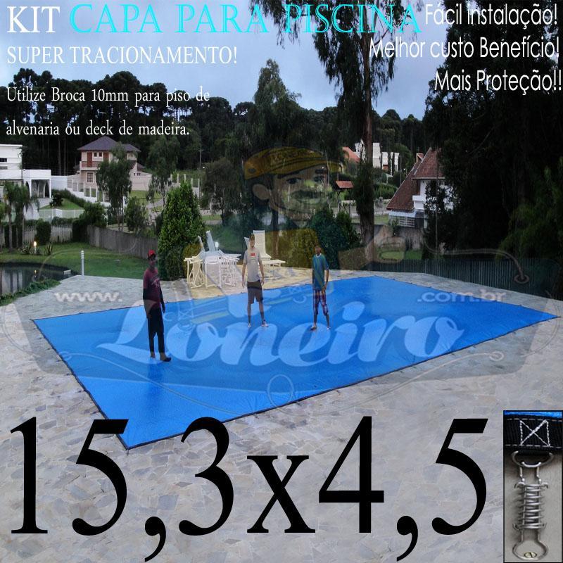 Capa para Piscina Super: 15,3 x 4,5m PP/PE Azul-Preto Lona Térmica de Proteção +96m+96p+5b