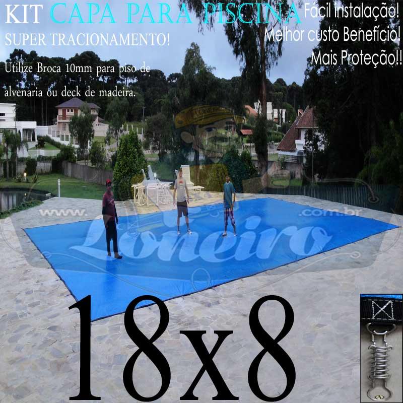 Capa para Piscina Super: 18,0 x 8,0m PP/PE Azul/Preta Lona Térmica de Cobertura +120m+120p + 10 pet-bóias