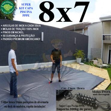 Capa para Piscina Super 8,0 x 7,0m PP/PE Cinza/Branca Chumbo Lona Térmica de Proteção +76m+76p+5b