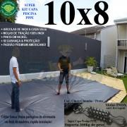 Capa para Piscina Super: 10,0 x 8,0m PP/PE Cinza - Preto Capa Térmica Premium +88m+88p + 10 pet-bóias