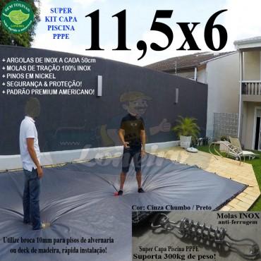 Capa para Piscina Super: 11,5 x 6,0m PP/PE Cinza - Preto Capa Térmica Premium +86m+86p+5b
