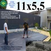Capa para Piscina Super: 11,0 x 5,5m PP/PE Cinza - Preto Capa Térmica Premium +82m+82p+5b