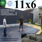 Capa para Piscina Super: 11,0 x 6,0m PP/PE Cinza - Preto Capa Térmica Premium +84m+84p+5b