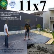 Capa para Piscina Super: 11,0 x 7,0m PP/PE Cinza - Preto Capa Térmica Premium +88m+88p+5b