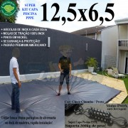 Capa para Piscina Super: 12,5 x 6,5m PP/PE Cinza - Preto Capa Térmica Premium +92m+92p+5b