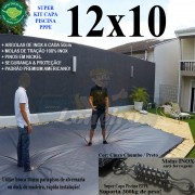 Capa para Piscina Super: 12,0 x 10,0m PP/PE Cinza - Preto Capa Térmica Premium +104m+104 + 10 pet-bóias