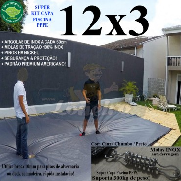 Capa para Piscina Super: 12,0 x 3,0m PP/PE Cinza - Preto Capa Térmica Premium +76m+76p+5b