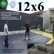 Capa para Piscina Super: 12,0 x 6,0m PP/PE Cinza - Preto Capa Térmica Premium +88m+88p+5b