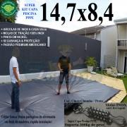 Capa para Piscina Super: 14,7 x 8,4m PP/PE Cinza - Preto Capa Térmica Premium +92m+92p + 10 pet-bóias