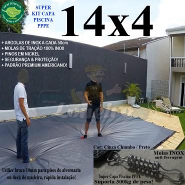 Capa para Piscina Super: 14,0 x 4,0m PP/PE Cinza - Preto Capa Térmica Premium +88m+88p+5b