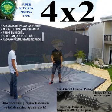 Capa para Piscina Super 4,0 x 2,0m PP/PE Prateada / Branca - Capa Térmica Premium Segurança Crianças Animais +40m+40p+1b