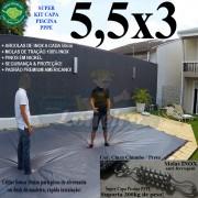 Capa para Piscina Super 5,5 x 3,0m PP/PE Cinza - Preto Capa Térmica Premium +50m+50p+1b