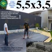 Capa para Piscina Super 5,5 x 3,5m PP/PE Cinza - Preto Capa Térmica Premium +52m+52p+1b