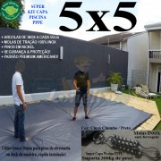 Capa para Piscina Super 5,0 x 5,0m PP/PE Cinza - Preto Capa Térmica Premium +56m+56p+1b