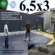 Capa para Piscina Super 6,5 x 3,0m PP/PE Cinza - Preto Capa Térmica Premium +54m+54p+3b