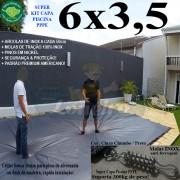 Capa para Piscina Super 6,0 x 3,5m PP/PE Cinza - Preto Capa Térmica Premium +64m+64p+3b