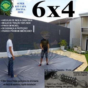 Capa para Piscina Super 6,0 x 4,0m PP/PE Cinza - Preto Capa Térmica Premium +56m+56p+3b