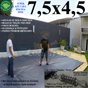 Capa para Piscina Super 7,5 x 4,5m PP/PE Cinza - Preto Capa Térmica Premium +64m+64p+3b