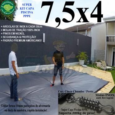 Capa para Piscina Super 7,5 x 4,0m PP/PE Cinza - Preto Capa Térmica Premium +62m+62p+3b