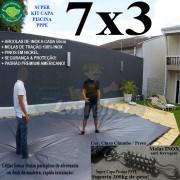 Capa para Piscina Super 7,0 x 3,0m PP/PE Cinza - Preto Lona Térmica Premium +56m+56p+3b