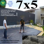 Capa para Piscina Super 7,0 x 5,0m PP/PE Cinza - Preto Capa Térmica Premium +64m+64p+3b