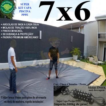Capa para Piscina Super 7,0 x 6,0m PP/PE Prata - Branca Lona Térmica Impermeável Premium +68m+68p+3b
