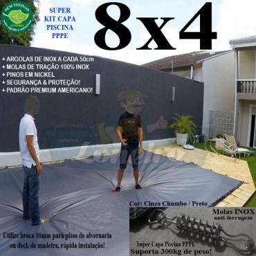 Capa para Piscina Super 8,0 x 4,0m PP/PE Cinza - Preto Capa Térmica Premium +64m+64p+3b
