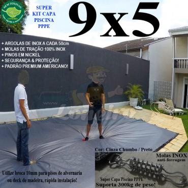 Capa para Piscina Super 9,0 x 5,0m PP/PE Cinza - Preto Lona Térmica Premium +72m+72p+3b
