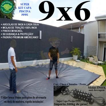 Capa para Piscina Super 9,0 x 6,0m PP/PE Cinza - Preto Lona Térmica Premium +76m+76p+3b