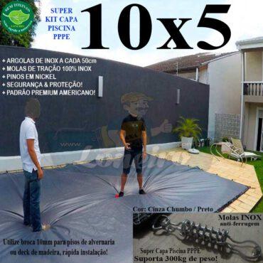 Capa para Piscina Super: 10,0 x 5,0m PE/PE Prata - Branca Lona Térmica Proteção Premium +76m+76p+5b