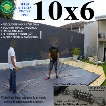 Capa para Piscina Super: 10,0 x 6,0m PP/PE Prateada / Branca - Capa Térmica Premium Segurança Crianças Animais +80m+80p+5b
