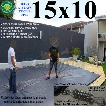 Capa para Piscina Super: 15,0 x 10,0m PE/PE Prata - Branca Lona Térmica Cobertura Premium +116m+116p + 16 pet-bóias