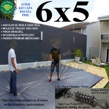 Capa para Piscina Super 6,0 x 5,0m PP/PE Prateada / Branca - Capa Térmica Premium Segurança Crianças Animais +60m+60p+4b