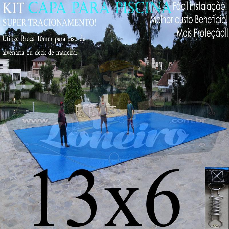 Capa para Piscina Super: 13,0 x 6,0m PP/PE Azul/Cinza Lona Térmica de Cobertura e Segurança +76m+76p+6b