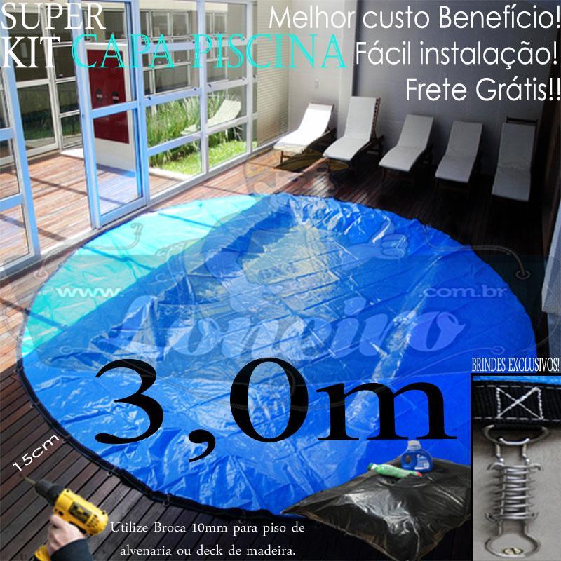 Capa para Piscina Super 3,0m de Diâmetro Redonda PP/PE Lona Térmica 25m+25p+1b