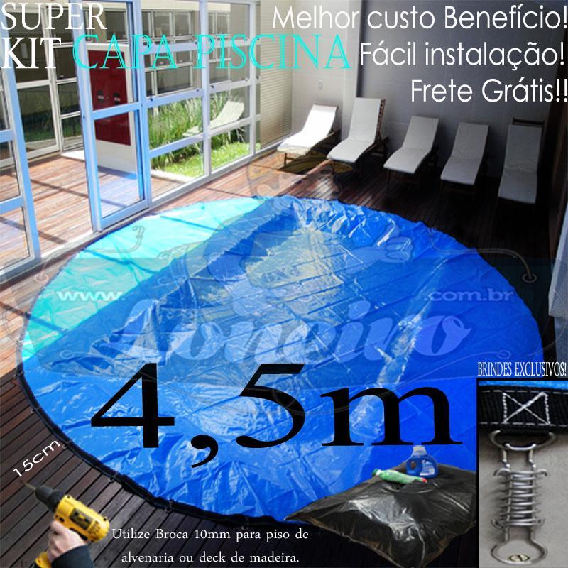Capa para Piscina Super 4,5m de Diâmetro Redonda Az/Az Lona Térmica 36m+36p+1b