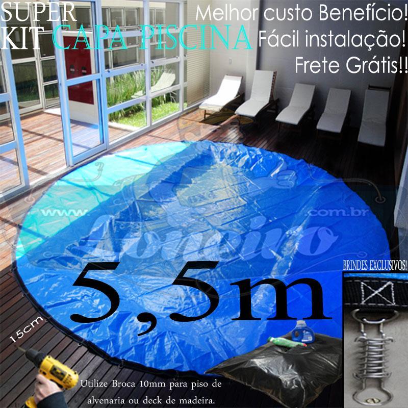 Capa para Piscina Super 5,5m de Diâmetro Redonda Az/Az Lona Térmica 44m+44p+1b