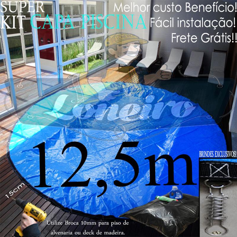 Capa para piscina super 12 5m de di metro redonda pp pe for Lona piscina redonda