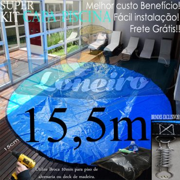 Capa para Piscina Super: 15,5m de Diâmetro Redonda PP/PE Lona Térmica Proteção 125m+125p+20b