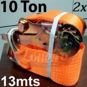 Catraca e Cinta de amarração com 2 unidades cor Laranja 100mm x 13,0 metros para 10.000kg 10 TON / Força
