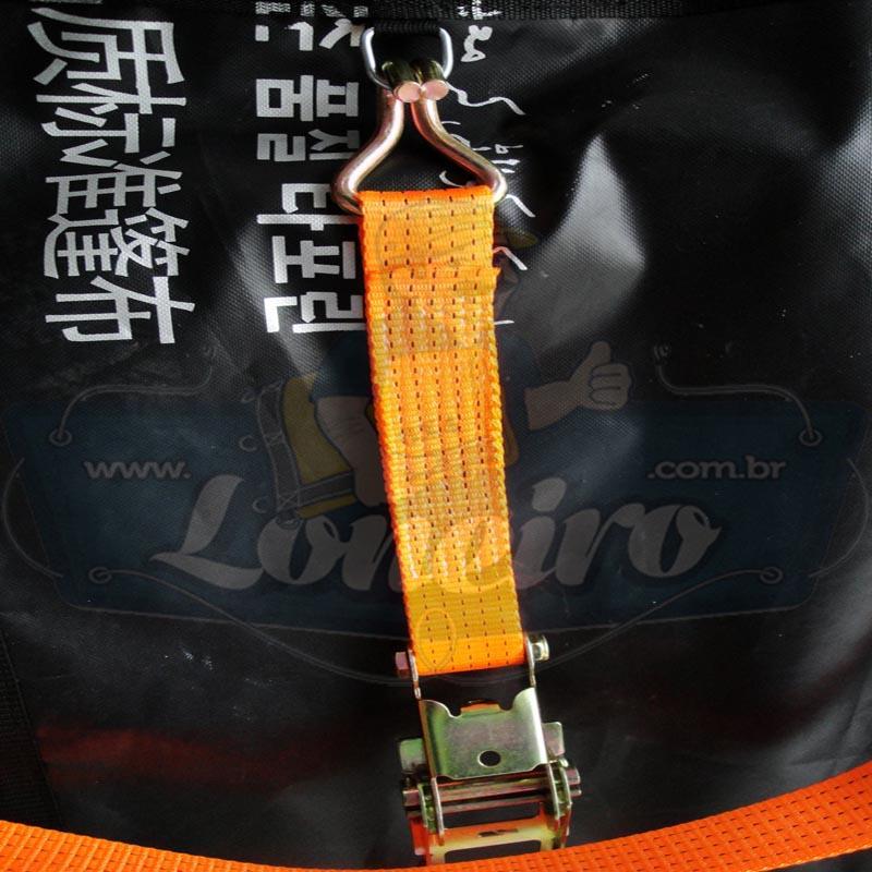 Catraca com Cinta de amarração cor Laranja 75mm x 10,0 metros para 5000kg/força cada - 4 unidades