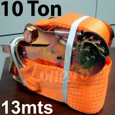 Catraca e Cinta de amarração 10 TON cor Laranja 100mm x 13,0m para 10.000kg / Força