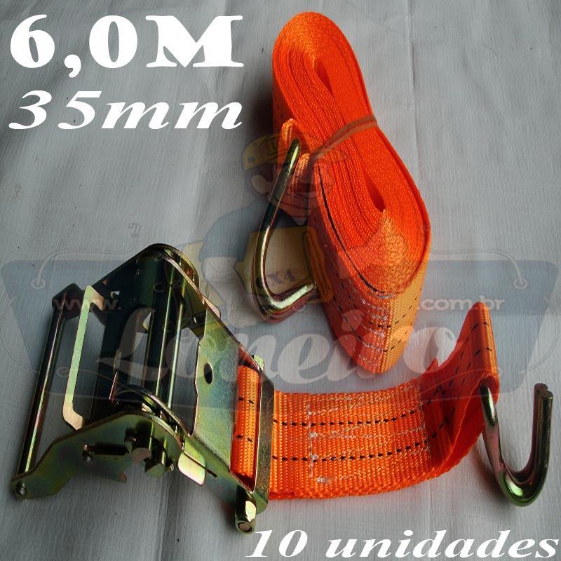 Catraca com Cinta de amarração cor Laranja 35mm x 6,0 metros para 2000kg / força - 10 unidades